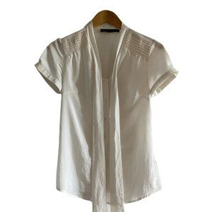 The Limited Short Sleeve Cream Tie Neck Blouse XS